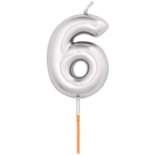"""Świeczka na tort """"Cyfra 6"""", srebrny metalik, Givi, 8 cm"""