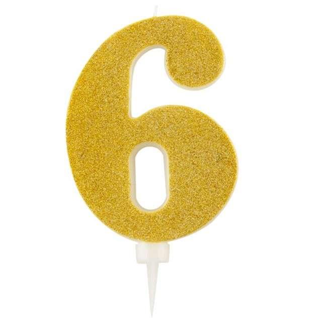 """Świeczka na tort """"Cyfra 6"""", złota brokatowa, Givi, 15,5 cm"""