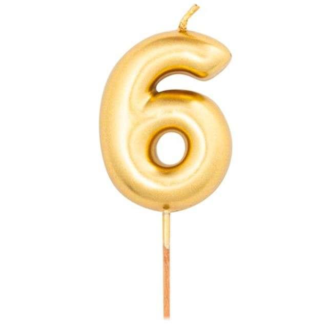 """Świeczka na tort """"Cyfra 6"""", złoty metalik, Givi, 8 cm"""