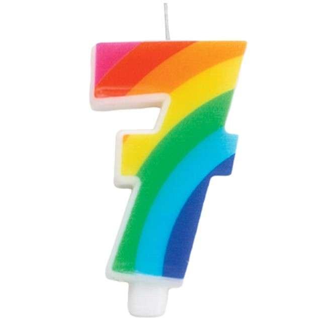 """Świeczka na tort """"Cyfra 7 iskrząca"""", tęczowa, Givi, 9,5 cm"""