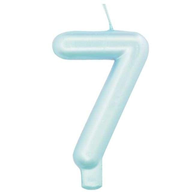"""Świeczka na tort """"Cyfra 7"""", niebieski perłowy, Givi, 9 cm"""