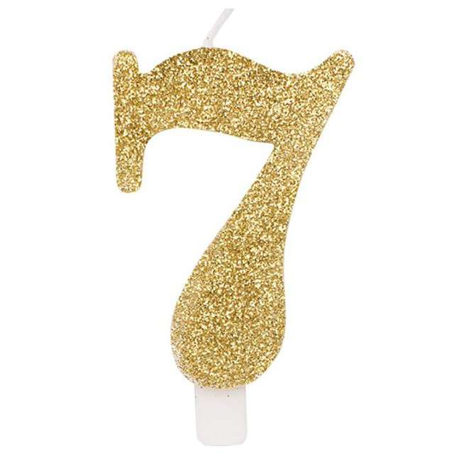"""Świeczka na tort """"Cyfra 7"""", złota brokatowa, Givi, 9,5 cm"""