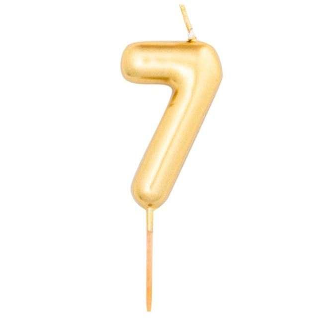 """Świeczka na tort """"Cyfra 7"""", złoty metalik, Givi, 8 cm"""
