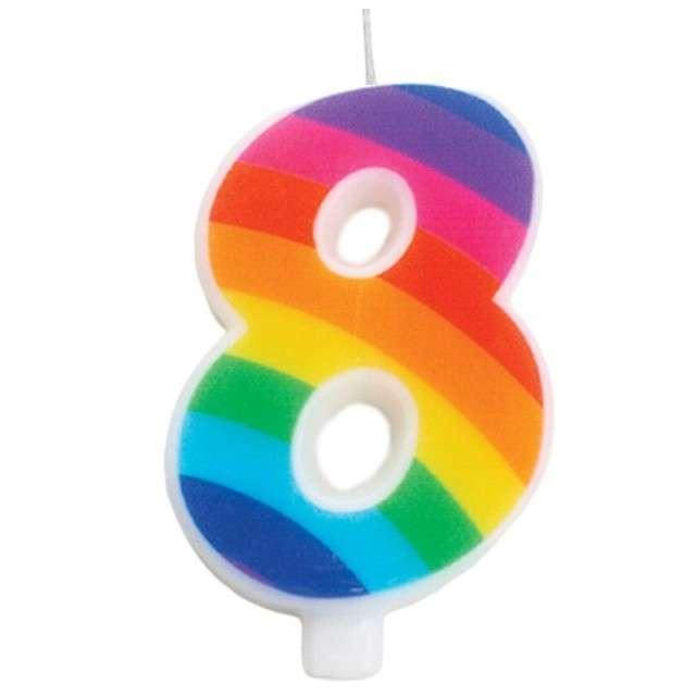 """Świeczka na tort """"Cyfra 8 iskrząca"""", tęczowa, Givi, 9,5 cm"""