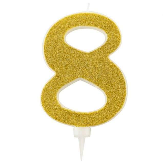 """Świeczka na tort """"Cyfra 8"""", złota brokatowa, Givi, 15,5 cm"""