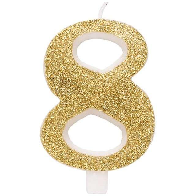 """Świeczka na tort """"Cyfra 8"""", złota brokatowa, Givi, 9,5 cm"""