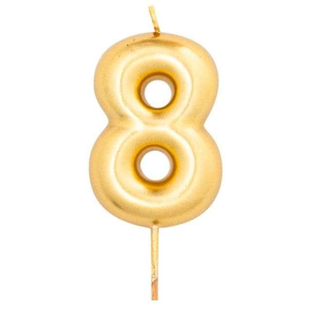 """Świeczka na tort """"Cyfra 8"""", złoty metalik, Givi, 8 cm"""