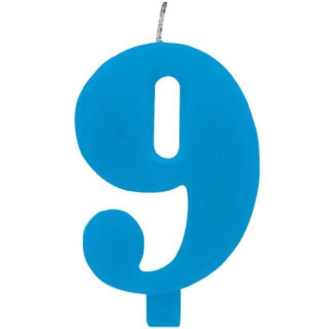 """Świeczka na tort """"Cyfra 9 iskrząca"""", niebieska, Givi, 9,5 cm"""