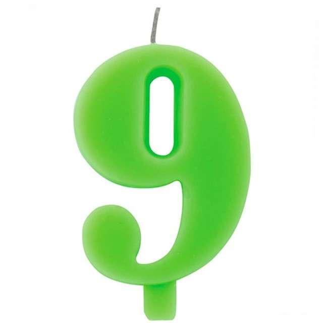 """Świeczka na tort """"Cyfra 9 iskrząca"""", zielona, Givi, 9,5 cm"""