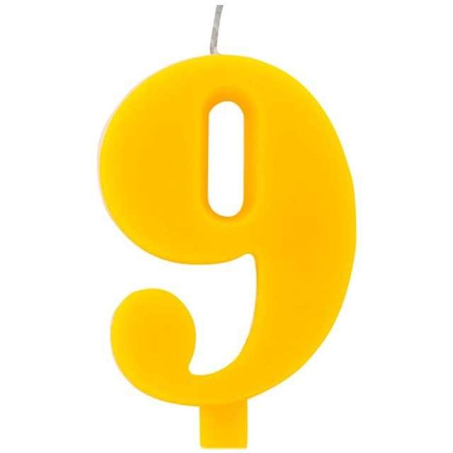 """Świeczka na tort """"Cyfra 9 iskrząca"""", żółta, Givi, 9,5 cm"""