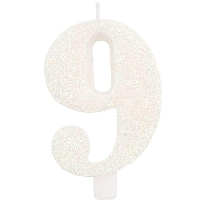 """Świeczka na tort """"Cyfra 9"""", biała brokatowa, Givi, 9,5 cm"""
