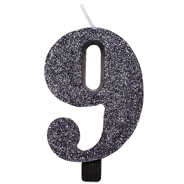 """Świeczka na tort """"Cyfra 9"""", czarna brokatowa, Givi, 9,5 cm"""
