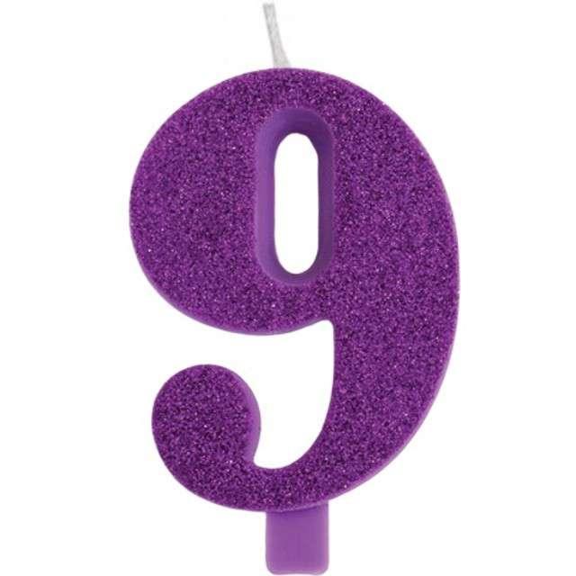"""Świeczka na tort """"Cyfra 9"""", fioletowa brokatowa, Givi, 9,5 cm"""