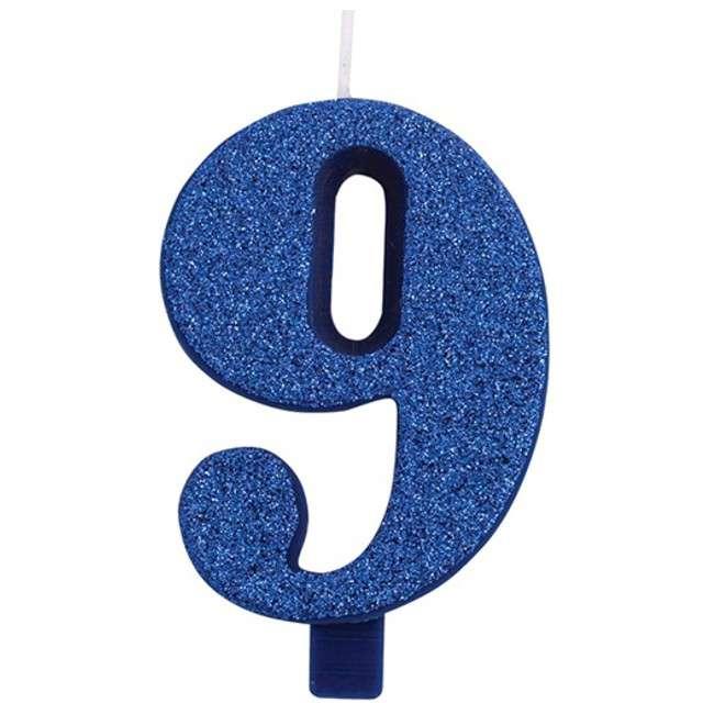 """Świeczka na tort """"Cyfra 9"""", niebieska brokatowa, Givi, 9,5 cm"""