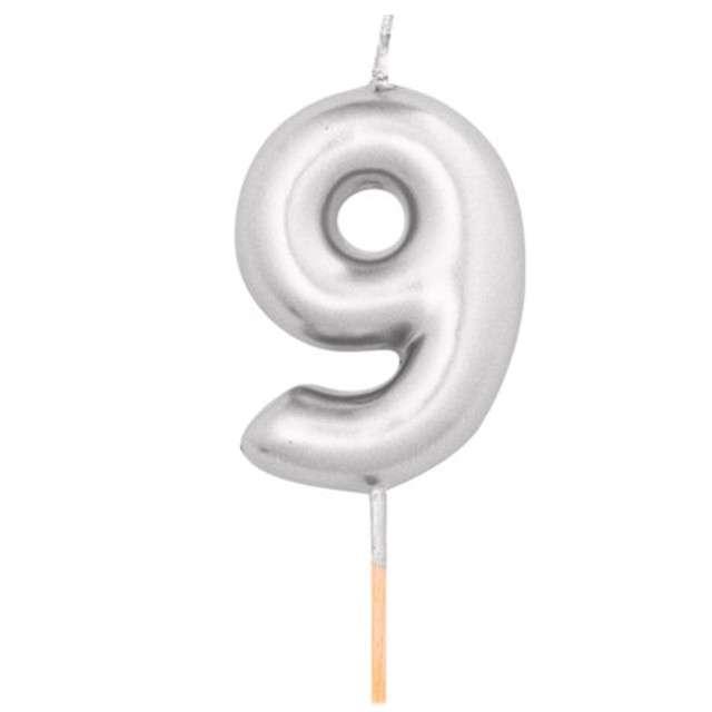 """Świeczka na tort """"Cyfra 9"""", srebrny metalik, Givi, 8 cm"""