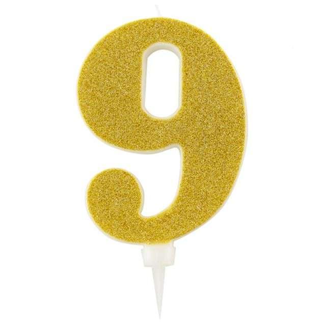 """Świeczka na tort """"Cyfra 9"""", złota brokatowa, Givi, 15,5 cm"""