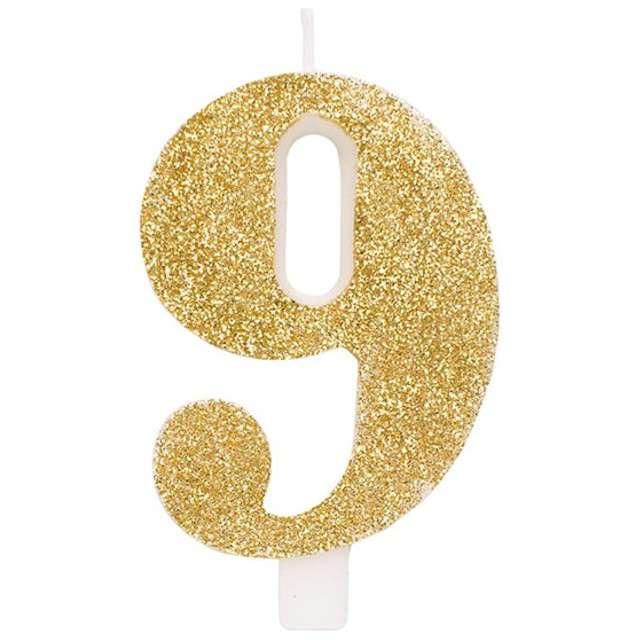 """Świeczka na tort """"Cyfra 9"""", złota brokatowa, Givi, 9,5 cm"""