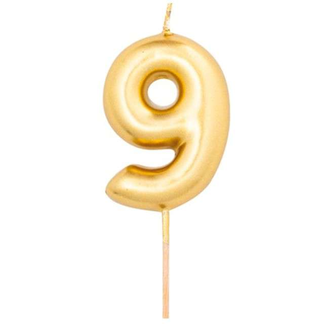 """Świeczka na tort """"Cyfra 9"""", złoty metalik, Givi, 8 cm"""