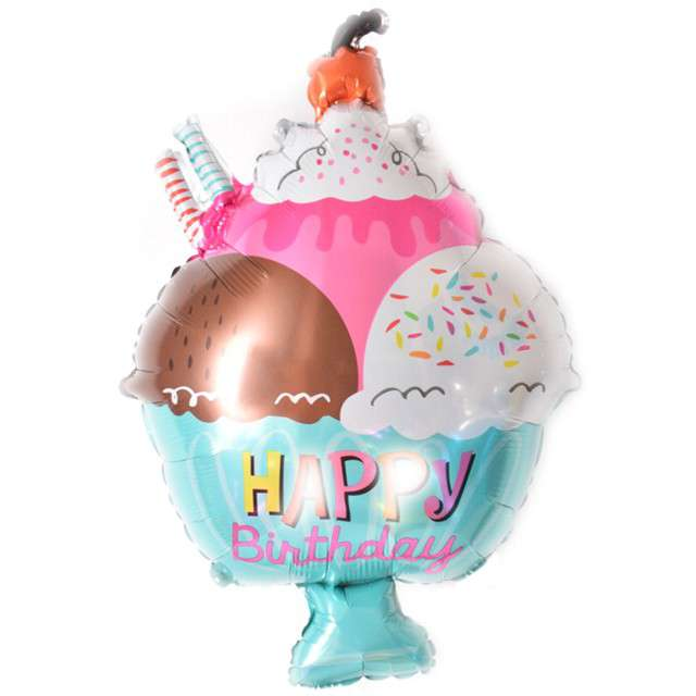 "Balon foliowy ""Lód - Happy Birthday"", Top Ten, 30"" SHP"