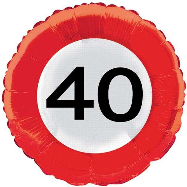 """Balon foliowy """"Znak drogowy 40"""", Top Ten, 18"""" RND"""