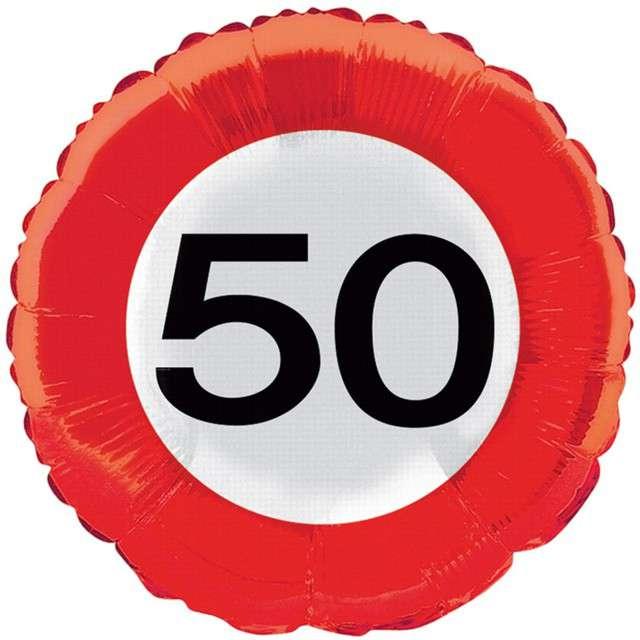 """Balon foliowy """"Znak drogowy 50"""", Top Ten, 18"""" RND"""