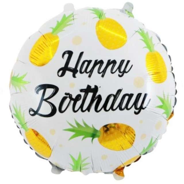 """Balon foliowy """"Ananasowe Happy Birthday"""", żółty, 18"""", RND"""