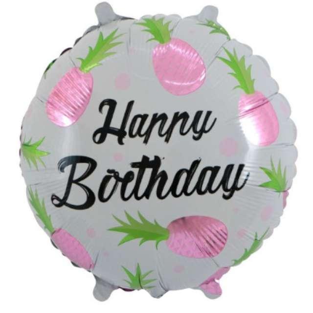 """Balon foliowy """"Ananasowe Happy Birthday"""", różowe, 18"""", RND"""