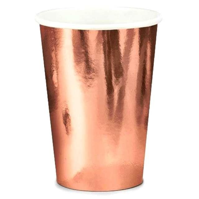 """Kubeczki papierowe """"Classic Metalik"""", różowe złoto, 6 szt, Jix"""