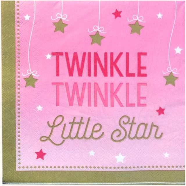 "Serwetki ""Twinke Twinkle Little Star"", różowe, 33cm, 12 szt"