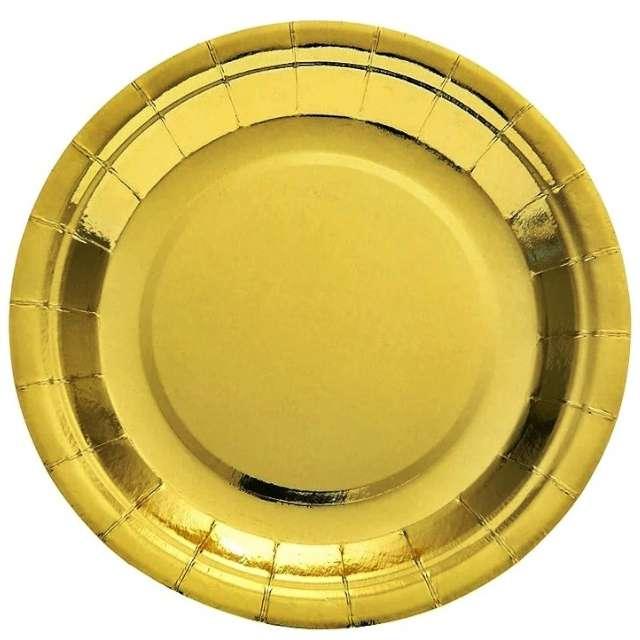 """Talerzyki papierowe """"Deluxe"""", złoto, 6 szt, 17,5cm"""