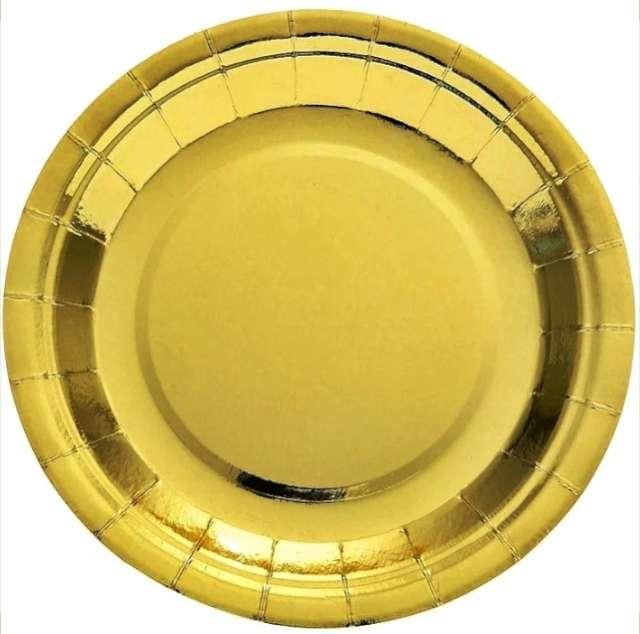 """Talerzyki papierowe """"Deluxe"""", złoto, 6 szt, 23cm"""