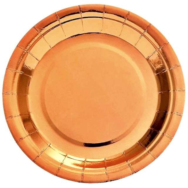 """Talerzyki papierowe """"Deluxe"""", różowe złoto, 6 szt, 17,5cm"""