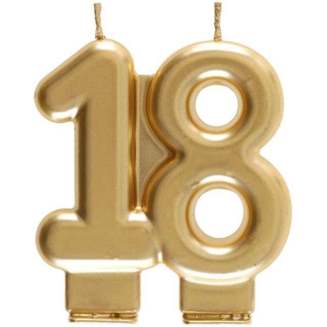 """Świeczka na tort """"Cyfra 18"""", złota, Santex, 9 cm"""