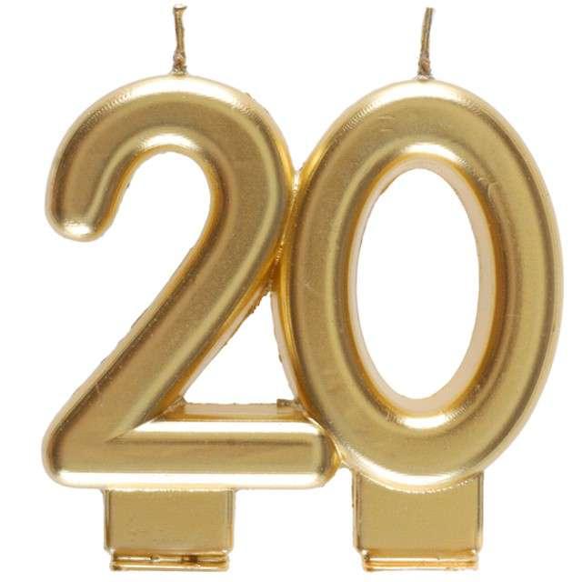 """Świeczka na tort """"Cyfra 20"""", złota, Santex, 9 cm"""