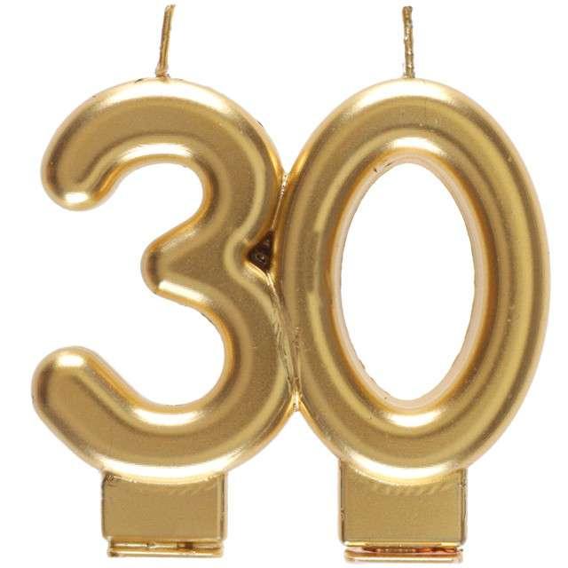"""Świeczka na tort """"Cyfra 30"""", złota, Santex, 9 cm"""