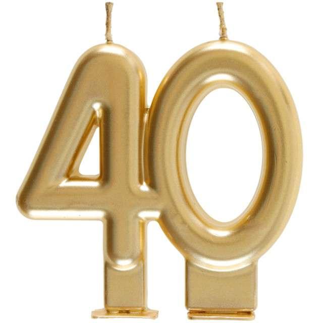 """Świeczka na tort """"Cyfra 40"""", złota, Santex, 9 cm"""