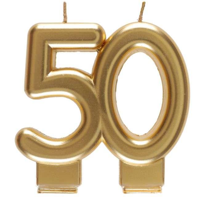 """Świeczka na tort """"Cyfra 50"""", złota, Santex, 9 cm"""