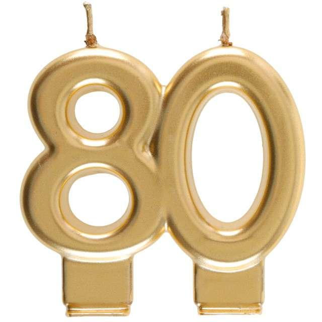 """Świeczka na tort """"Cyfra 80"""", złota, Santex, 9 cm"""