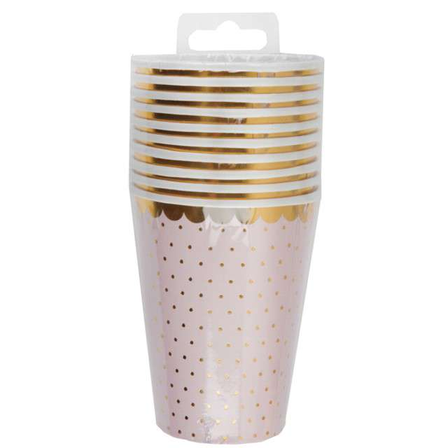 """Kubeczki papierowe """"Różowe w złote kropki"""", Santex, 250 ml, 10 szt"""