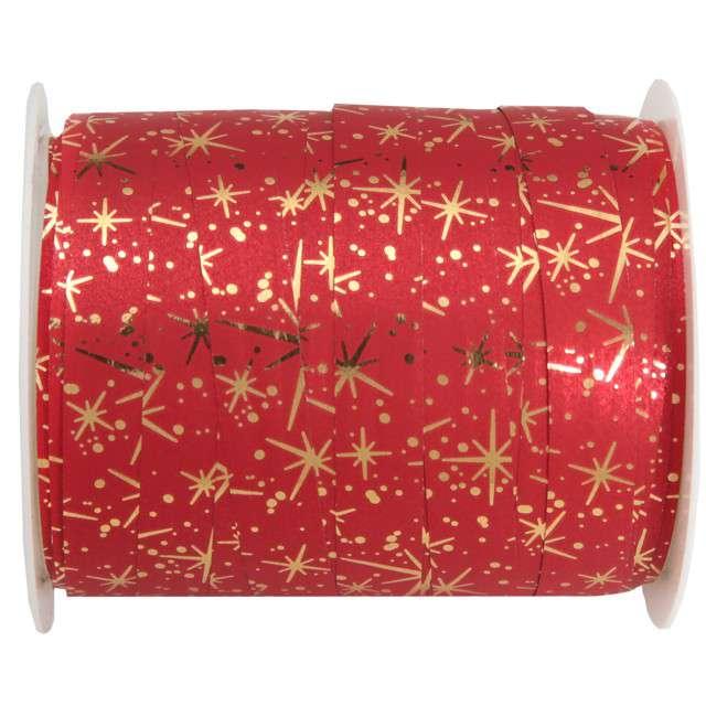 """Wstążka do balonów """"Radiance - Iskierki"""", czerwona, SANTEX,10 mm x 25 m"""