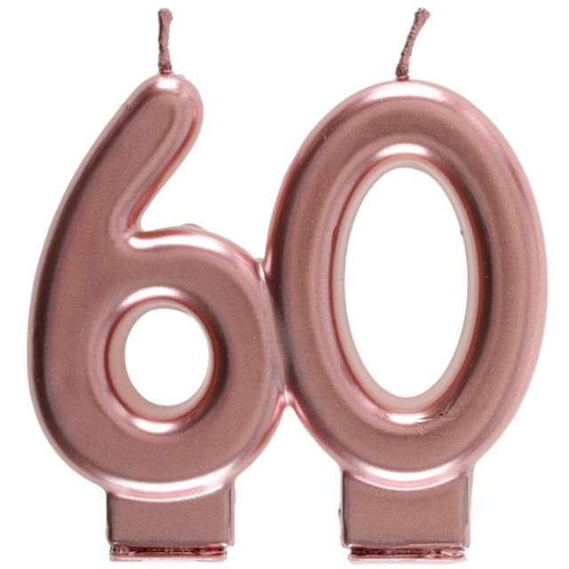 """Świeczka na tort """"Cyfra 60"""", różowe złoto, Santex, 9 cm"""