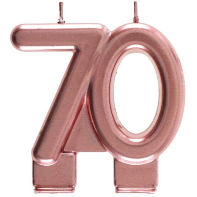 """Świeczka na tort """"Cyfra 70"""", różowe złoto, Santex, 9 cm"""
