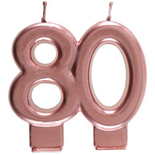 """Świeczka na tort """"Cyfra 80"""", różowe złoto, Santex, 9 cm"""