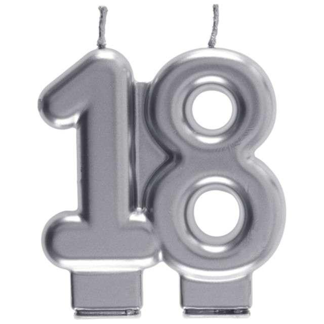 "Świeczka na tort ""Cyfra 18"", srebrna, Santex, 9 cm"