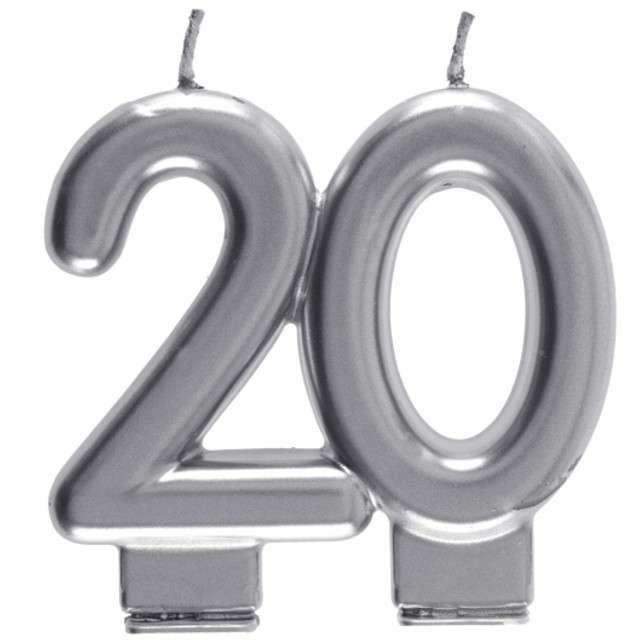 "Świeczka na tort ""Cyfra 20"", srebrna, Santex, 9 cm"
