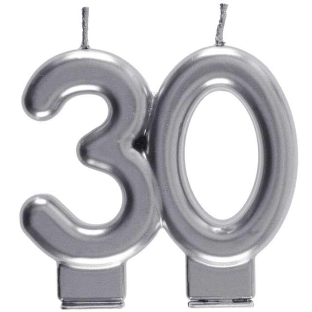 "Świeczka na tort ""Cyfra 30"", srebrna, Santex, 9 cm"