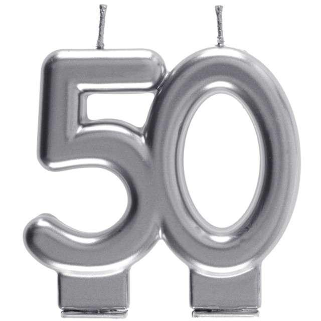 "Świeczka na tort ""Cyfra 50"", srebrna, Santex, 9 cm"
