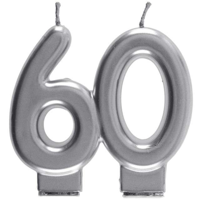 "Świeczka na tort ""Cyfra 60"", srebrna, Santex, 9 cm"