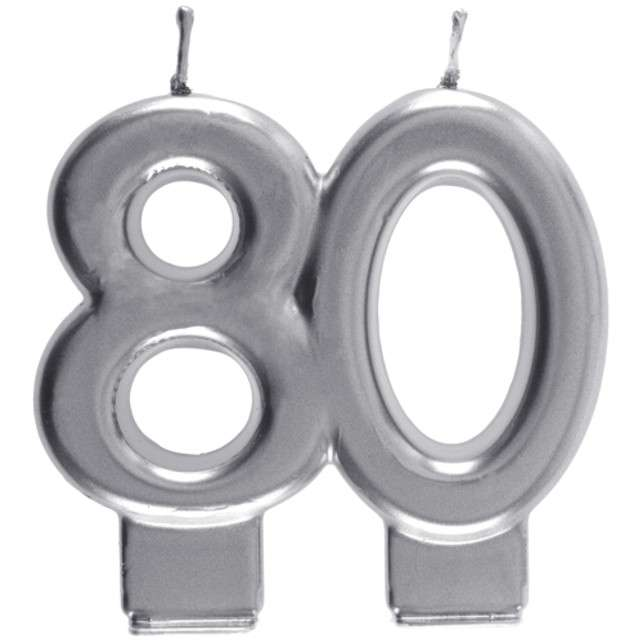 "Świeczka na tort ""Cyfra 80"", srebrna, Santex, 9 cm"