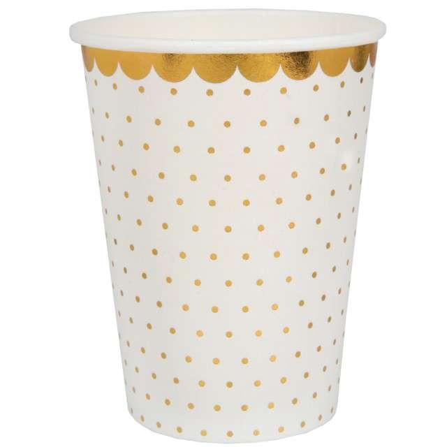 """Kubeczki papierowe """"Białe w złote kropki"""", Santex, 250 ml, 10 szt"""